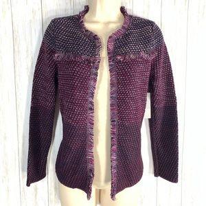 Chico's marled fringe cardigan sweater 0P